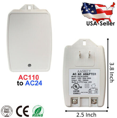 24VAC, 40 VA AC Transformer with PTC Fuse - 2 Prong C-Wire Thermostat & Doorbell