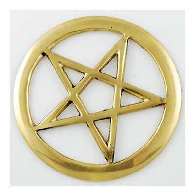 "Brass Cut-Out Pentagram Pentacle 3"" Atlar Tile Charm Talisman Ritual Magick"