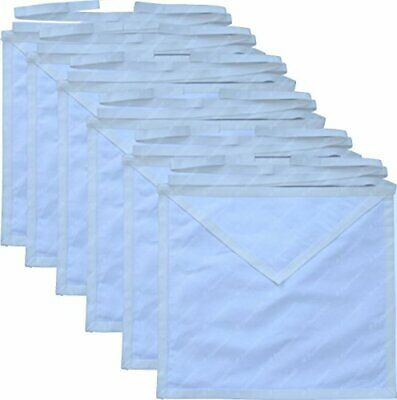 Masonic Member Aprons Set 12 Pack White Cotton Cloth For the Freemason By Equ...