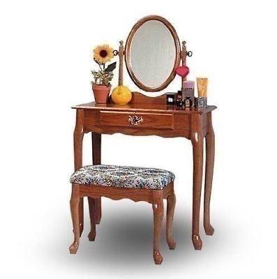 Vanity Table Set Stool Bench Mirror Dressing Makeup Girls Bedroom Oak Furniture for sale  USA