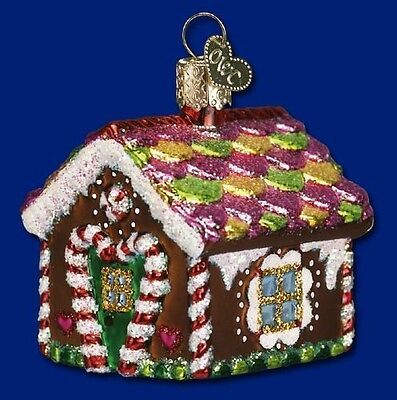 SMALL GINGERBREAD HOUSE GLASS OLD WORLD CHRISTMAS COOKIE HOUSE ORNAMENT 20013
