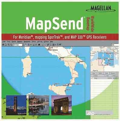 Magellan Mapsend Worldwide Basemap Mapping Software For Meridian Marine Gps -oem