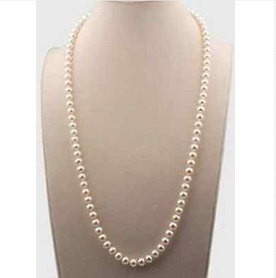 classic 24inch 7-8mm south sea round white pearl necklace 14k gold 8mm Pearl 24 Inch Necklace