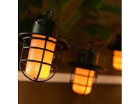 10 LED Solar Powered Flame Lanterns String Lights Outdoor Garden Party Hanging