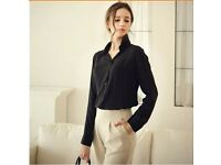 Sexy Womens Chiffon Long Sleeve Blouse Loose Tops T-Shirt Black or Blue