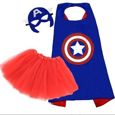 New child Halloween costume super hero cape tutu & mask captain america inspired](Captain America Tutu Costume)