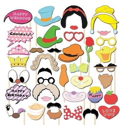 38pcs Masks Photo Booth Props Mustache Birthday Wedding Children's Day Party USA](Kids Photo Booth)
