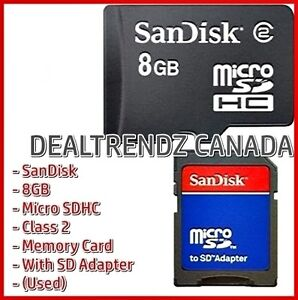 ⭆ SANDISK 8GB MICRO SDHC CLASS 2 USED MEMORY CARD + ADAPTER ✋