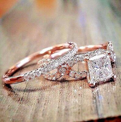 4.11 ct. Princess Cut Twist U-Pave Diamond Engagement Bridal Set Ring I, SI1 GIA
