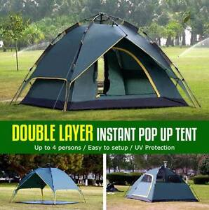 Double Layer  Auto Pop Up Large Camping Tent 3-4 Persons Shelter Silverwater Auburn Area Preview