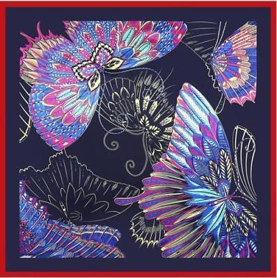 - SCARF Many Colors Red Border Black Background BUTTERFLIES IN FLIGHT