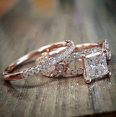 1.88 Ct Princess Cut Diamond Halo Twist Engagement Bridal Ring Set D, VS1 GIA