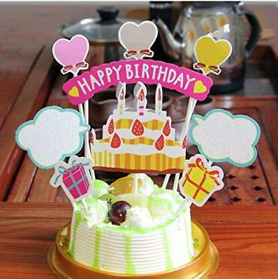 PureArte Happy Birthday Cake Topper For Kids Party Decoration Pink Present - Pink Birthday Cake