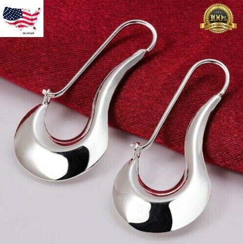 Fashion Womens 925 Sterling Silver 50mm Long Vogue Hoop Pierced Earrings #E223