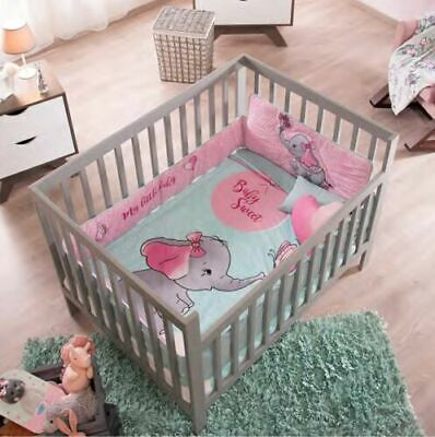 NEW BABY ELEPHANT PINK BABY GIRL NURSERY CRIB BEDDING SET 6 PIECES