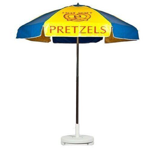 Hot Soft Pretzels Vendor Cart Concession Umbrella With Tilt