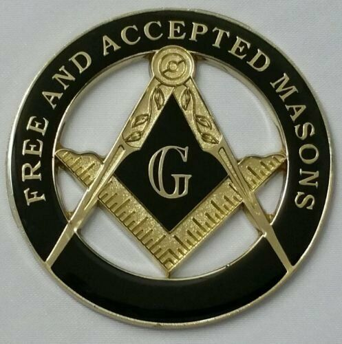 New Masonic Free and Accepted Masons Cut Out Car Emblem in Black and Gold