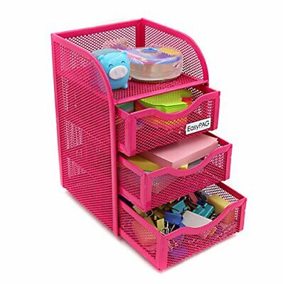 Mesh Desk Accessorie Organizer 3drawer Office Supplies Caddy Pink Color Portable