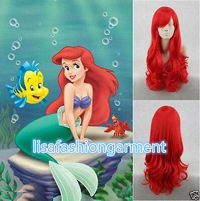 Little Mermaid Princess Ariel Red Wig Long Curly for Kids Children Adult COSPLAY - Princess Wigs For Adults