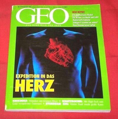 GEO 1993 Nr 12 , Herz-Report Krokodile Ost-Industrie Schatztaucher Zug - Schweiz