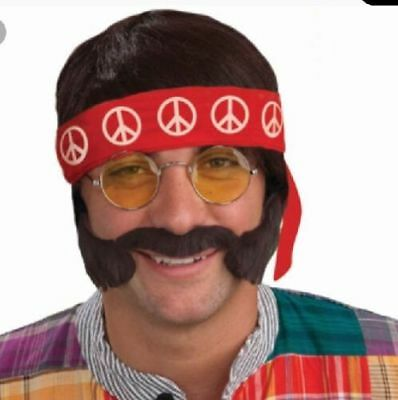 Hippie Kostüme Kit (Adults Hippie Fancy Dress Kit Mens Hippy Wig Tash + Glasses 60s 70s Accessories)