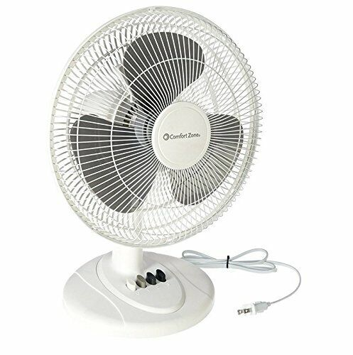 "CCC Comfort Zone 12"" Oscillating Fan, White"