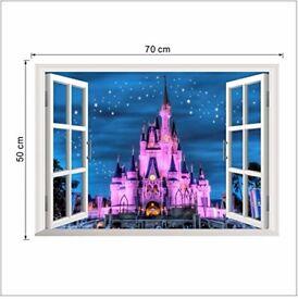 BRAND NEW 3D WALL DISNEY PRINCESS ENCHANTED CASTLE WINDOW POSTER 50x70 CMS
