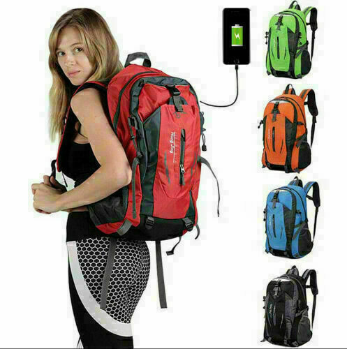 Nylon Travel Sports Shoulder Backpack Hiking Waterproof USB Laptop School Bag US
