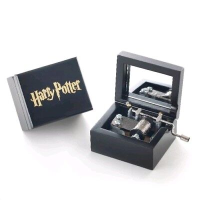 LIMITED EDITION { HARRY POTTER } Artisanal Black Hand Crank Wooden Music Box