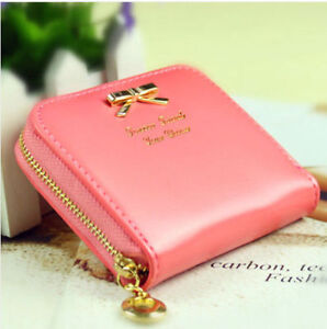 High-Quality Colorful Bowknot Pendant Leather Wallet