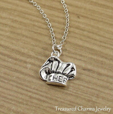 Silver Chef Hat Charm Necklace   Baker Baking Culinary School Pendant Jewelry