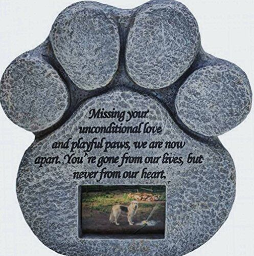 Dog Memorial Stone - Paw Print Pet Memorial Features a Photo Frame Pet Loss Gift