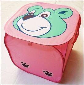 *** SALE Square Foldable Pop-up Lid Green Bear Storage Bin Laundry Box Basket Toys Kids ***