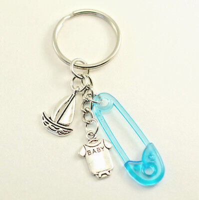 Nautical Marine Sailboat & Safety Pin Keychain Baby Shower Favors Gift Souvenir