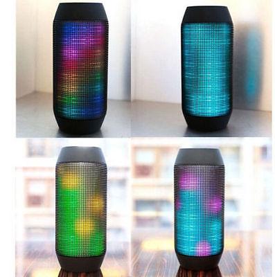 Portable LED Light Stereo Wireless Bluetooth Bass Speaker SmartPhone PC FM Black