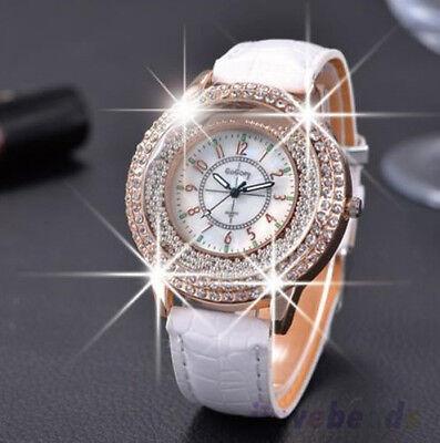 Diamond Luxury Watch - Luxury Chic Diamond Rhinestone Watch Women Leather Quartz Wristwatch Xmas Gifts