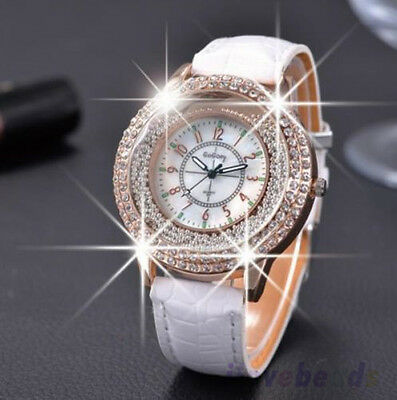 Ladies Luxury Diamond Rhinestone Watch Women Casual Leather Quartz Wristwatch UK