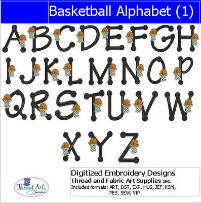 Embroidery Design Set - Basketball Alphabet - 26 Designs - 9 Formats - USB Stick ()
