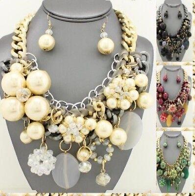 Statement Chunky Pearl Bead Chain Charm Flower Bib Necklace Earrings Choker Ball Chunky Bead Necklace Earrings