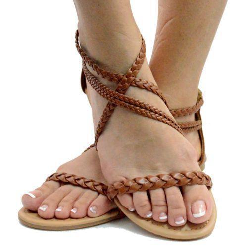 Brown Braided Sandals Ebay