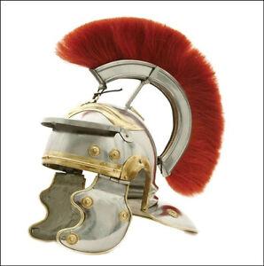 Roman Centurion Helmet +Red Crest Plume Medieval Gladiator Christmas, Xmas Gift