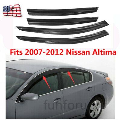 4Pcs Smoke Window Visor Sun Guard Vent Deflector For 2007-12 Nissan Altima Sedan