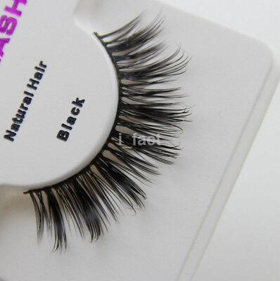 Fashion Natural 100% Real Mink Thick Eye Lashes Black False Eyelashes Makeup US