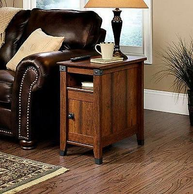 Side Table Drawer Living Room Furniture Wood Shelf Storage Mission Style End