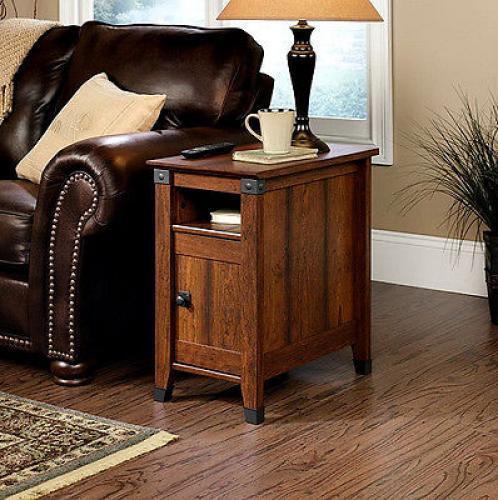 Side Table Drawer Living Room Furniture Wood Shelf Storage Mission