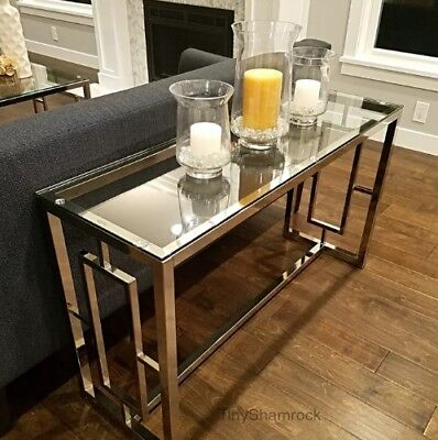 Chrome Console Table Glass Top Luxury Glamour Entry Hall Living Room Furniture  - Entry Room Furniture