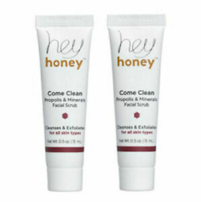 2 HEY HONEY Come Clean Propolis & Minerals Facial Scrub Travel .5 oz each NEW