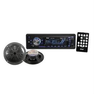 New-Pyle-PLMRKT12BK-200W-Marine-Boat-MP3-USB-SD-Player-Stereo-Radio-2-Speakers