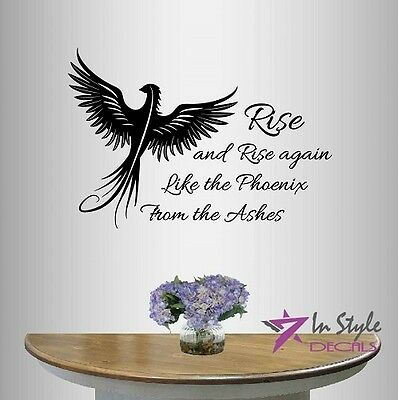 Vinyl Decal Rise Like Phoenix From Ashes Quote Bird Hawk Room Wall Sticker 723