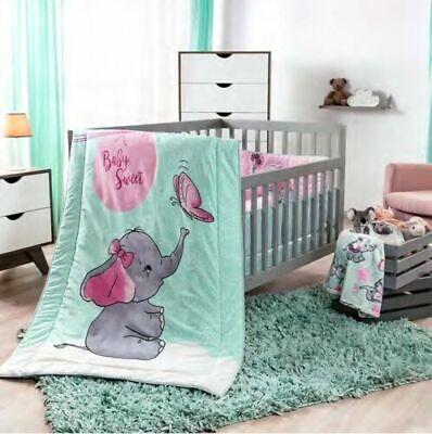 NEW BABY ELEPHANT PINK & GRAY GIRL NURSERY CRIB BEDDING SET